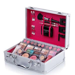 Makeup Kit Cosmetic Set Girls Eyeshadow Palette Lipstick Beauty Case Silver MU17