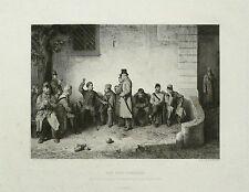 Kupferstich 1870 - JENÖ DOBY - Der neue Kamerad - nach Friedrich Friedländer