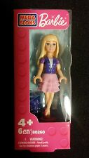 Barbie Mega Bloks Blonde Hair Purple Top Baby Pink Skirt Doll