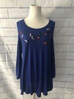 NWT NY Collection Cold Shoulder Blouse Sz L 3/4 Sleeve Blue Floral Tunic $50