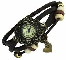 HEART Quartz Fashion Weave Wrap around Leather Bracelet Women Wrist Watch