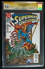 Superman Unchained #1 CGC SS 9.6, Signed by Jim Lee  Jurgens Variant Flag cover