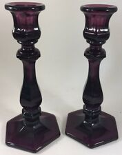 Candleholders Candlestick Holders - Amethyst Glass - Mosser USA - Set of 2