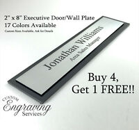 """OFFICE DOOR WALL NAME PLATE EXECUTIVE SIGN TWO TONE WITH ACRYLIC BACK 2"""" X 8"""""""