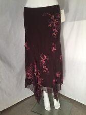 dfd3e50bde4f5 NWT ECI New York Silk Skirt with Ribbon Beaded Embroidery Sz 4 Handkerchief  Bias