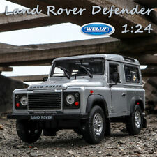 Model Cars Land Rover Defender Silver Alloy Diecast Replica 1:24 Scale By Welly