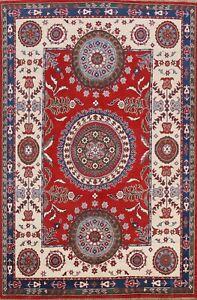Geometric Vegetable Dye Super Kazak Oriental Area Rug Hand-knotted Wool 6'x8'