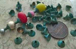 Vintage 5 x 6mm Aged Patina Brass Funnel Bead Caps 24