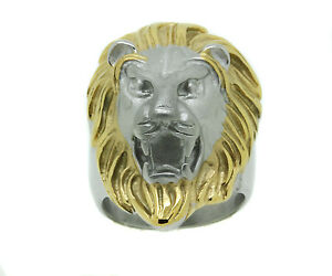 Mens Lion Head Ring Silver Satin Yellow Stainless Steel Heavy King of the Jungle