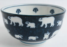Mino ware Japanese Ceramics Large Bowl Polar Bear Navy made in Japan