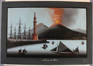 c1871 original large gouache painting of eruption of Mount Vesuvius grand tour
