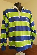 BARBARIAN RUGBY Wear Long Sleeve Shirt Men's Medium M Blue Green Striped Cotton