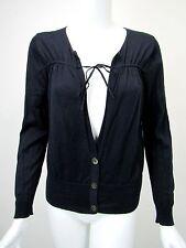 DRIES VAN NOTEN Midnight Blue Cotton Drawstring Tie Button Cardigan Sweater sz L