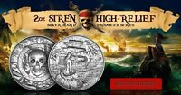2 oz Silver Privateer 2 Silver Siren Ultra High Relief  Silver round coin pirate