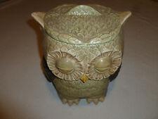 VINTAGE OWL DOUBLE SIDED CERAMIC COOKIE JAR SLEEPY EYES RETRO WISE OLD 1960S >>