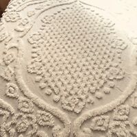Chinelle Bedspread Sham Twin White Medallion Cotton Vintage Made In India