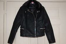 ❄️ New 12 Thick Heavy Leather Look Biker Jacket Removable Faux Fur Collar Zips