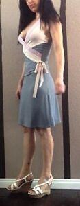 Frederick's Wrap Tie Waist V Neck Grey Pink Halter Dress 70s Sexy M Fit N Flair