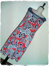 SJS Red, White & Navy Floral Textured Sweetheart Mesh Yoke Illusion Dress 2X