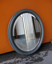 VINTAGE STYLE DISTRESSED OVAL GREY GLOSS FRAMED BEVELLED WALL MIRROR