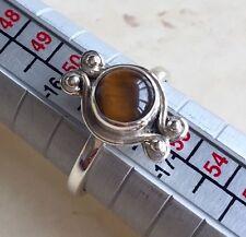 Precioso de Ojo de Tigre & 925 Sterling Silver Ring UK Size L.5
