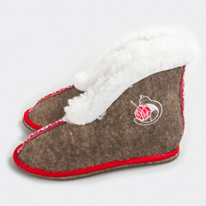 Felt Women's Slippers Sheep Wool Warm Cozy Chuni House Booties, Made in Russia