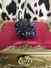 Betsey Johnson Midnight Romance Shaky Crystal Blue Hematite Flower Cluster Ring