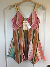 Joe Brown Multi Coloured Seasucker Cotton Stripe Vest Top Size 14 (12) BNWT
