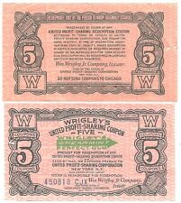 Two c1920s Wrigleys Gum Profit Sharing Coupons  5 Coupons Value