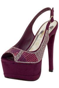 Purple Sequin Faux Suede Platform Sandals Peep Toe