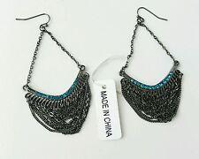 Costume Dangle Earrings Hematite Blue Jewel NWT