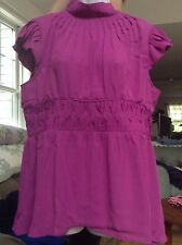 Women's Dialogue Purple Blouse Cap Sleeves Dressy Lightweight size 14