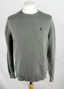 Mens Polo RALPH LAUREN Classic Knitted Sweater size MEDIUM Jumper Dark grey