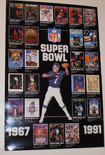 "Vintage 1991 Nfl Poster! Shows All Super Bowl Games Since 1967! 17x26"" Football!"