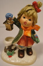 Girl Holding Lantern Christmas Mistletoe Snow Christmas Candle Holder Napcoware