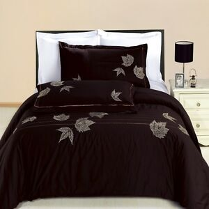Newbury 3 PC Queen Size Embroidered 100% Cotton Luxury Duvet Cover Set OR Shams