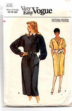 1980's Vintage Vogue Sewing Pattern 8731 Ladies Loose Fitting Dress 8/10