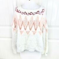 LC Lauren Conrad Women's Fair Isle Gardenia Cream Eyelash Fuzzy Sweater Size XL