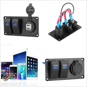 Waterproof 12V 2Gang Car Boat Circuit Blue LED Rocker Switch Panel 3.1A Dual USB