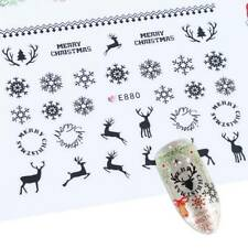 Christmas Nail Art Stickers Decals Black Snowflakes Reindeer Lace Tree (E800)