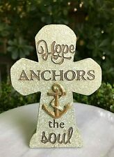 Miniature FAIRY GARDEN Accessories ~ Mini Resin Cross HOPE ANCHORS The SOUL