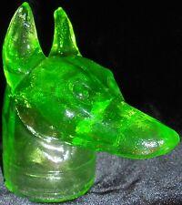 Green Vaseline glass Doberman pinscher uranium yellow candy container watch dog
