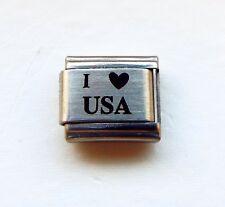I (heart) USA laser 9mm stainless steel Italian charm bracelet link new