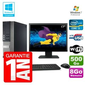 """PC Dell 7010 SFF Intel I3-2120 RAM 8Go Disque 500Go DVD Wifi W7 Ecran 17"""""""