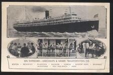 Postcard Merchants & Miners Steamer Promo Ad 1910's