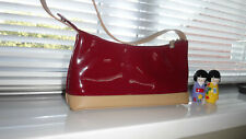 Suzy Smith London Patent Burgundy & Taupe Shoulder Bag.