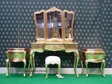 FOGLIA D'ORO cinque pezzi Rococò letto Francese legno SET TAVOLINO da TOELETTA A