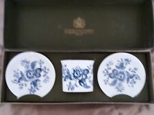 ROYAL WORCESTER BLUE FLOWERS PIN DISHES & TOOTHPICK HOLDER SET BOXED - STUNNING