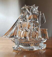 Waterford Crystal Ireland TALL SHIP Sailing Sculpture Three Masts