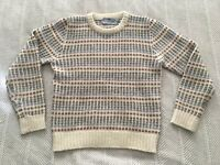 Vintage Susan Bristol Size 38 100% Shetland Wool Sweater Cream Brown Blue